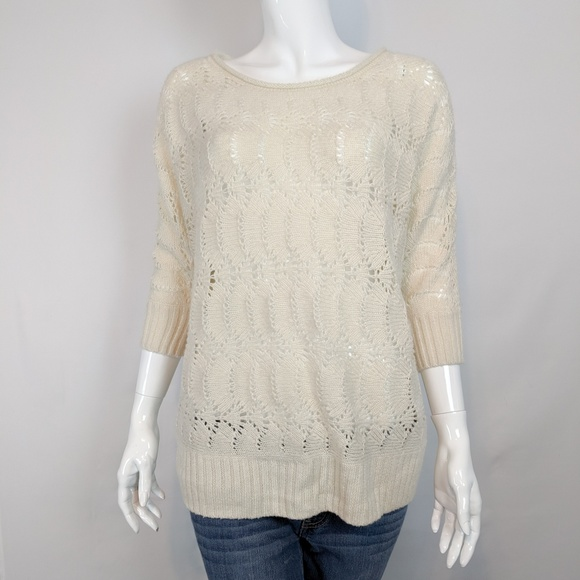LC Lauren Conrad Sweaters - Lauren Conrad Cream Eyelet Scallop Ripple Sweater